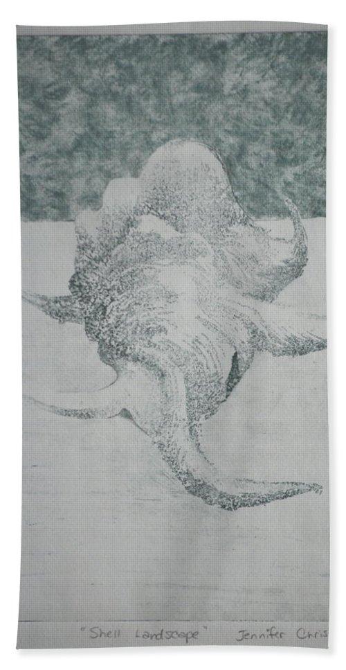 Sea Shell Bath Sheet featuring the mixed media Shell Landscape by Jennifer Christenson