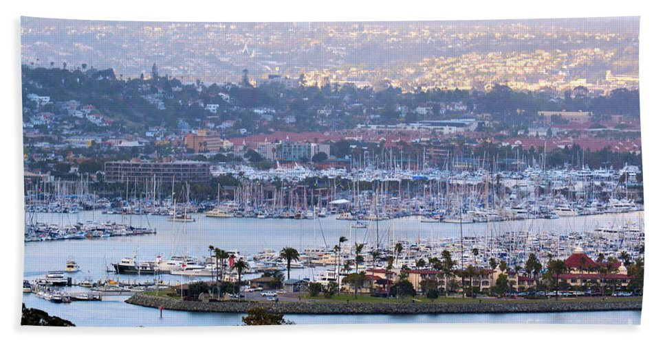 Panorama Hand Towel featuring the photograph Shelter Island Point - San Diego by RJ Aguilar