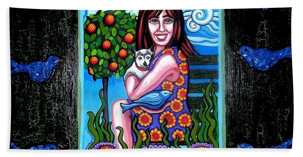 Dog Hand Towel featuring the painting Sherry And Her Chihuahua by Genevieve Esson