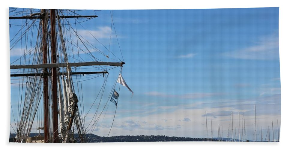 Oslo Hand Towel featuring the photograph Ships In Oslo Harbor by Carol Groenen