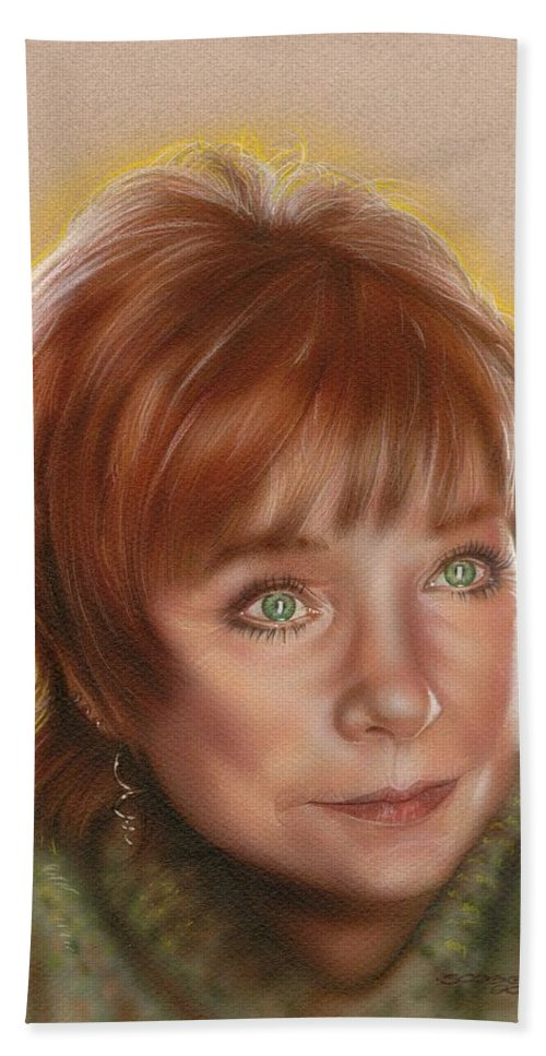 Celebrities Hand Towel featuring the painting Shirley by Timothy Scoggins