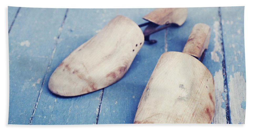 Blue Bath Sheet featuring the photograph shoe trees II by Priska Wettstein