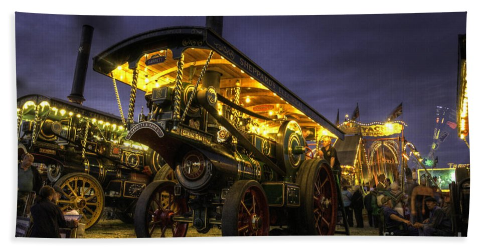 Great Bath Sheet featuring the photograph Showmans Engine By Night by Rob Hawkins