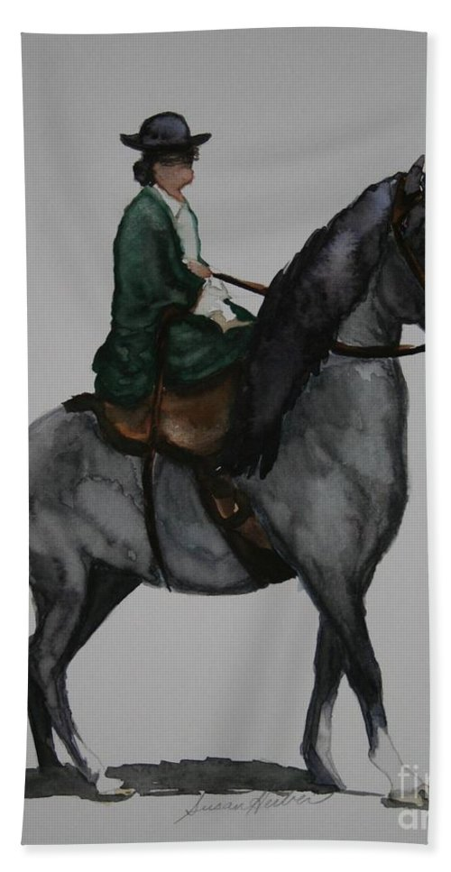 Grey Horse Bath Sheet featuring the painting Sidesaddle by Susan Herber