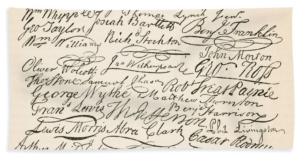Signatures Attached To The American Declaration Of Independence Of 1776 Hand Towel featuring the painting Signatures Attached To The American Declaration Of Independence Of 1776 by Founding Fathers