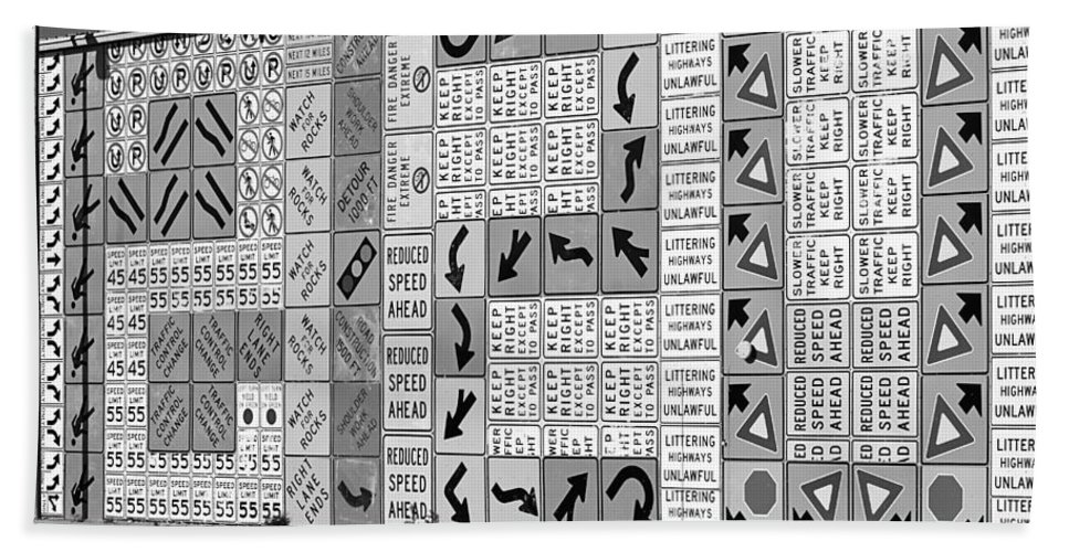Signs Hand Towel featuring the photograph Signs And More Signs Black And White by Phyllis Denton