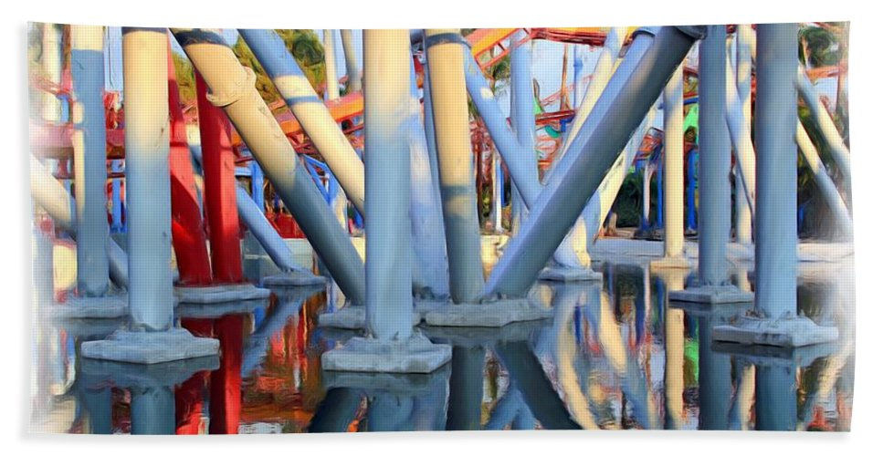 Amusement Park Hand Towel featuring the photograph Silver Bullet Over Reflection Lake by Heidi Smith