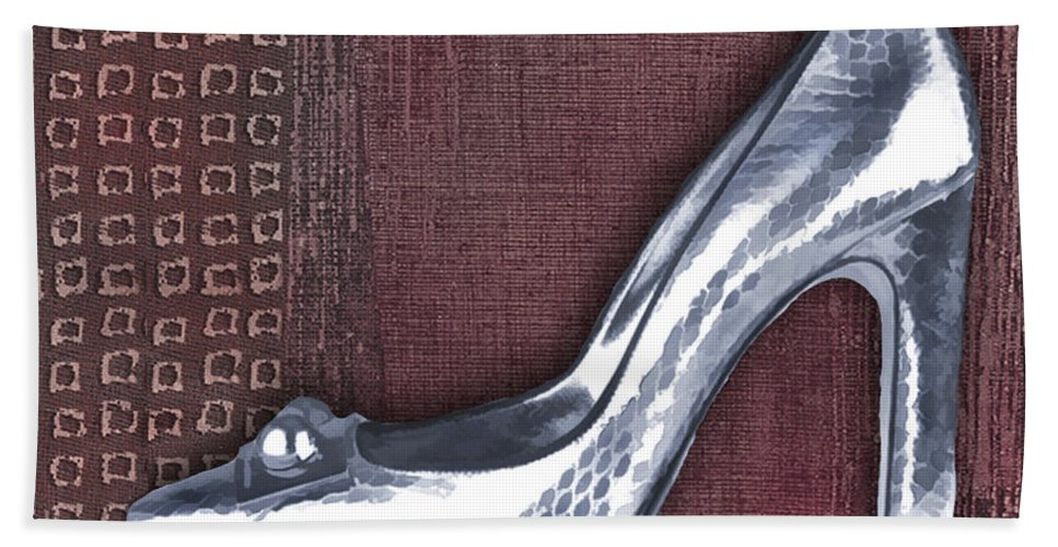 Shoes Heels Pumps Fashion Designer Feet Foot Shoe Stilettos Painting Paintings Illustration Illustrations Sketch Sketches Drawing Drawings Pump Stiletto Fetish Designer Fashion Boot Boots Footwear Sandal Sandals High+heels High+heel Women's+shoes Graphic Sophisticated Elegant Modern Hand Towel featuring the painting Silver Crocodile Pump by Elaine Plesser