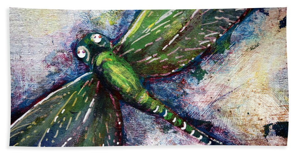 Dragonfly Bath Towel featuring the mixed media Silver Dragonfly by Ashley Kujan