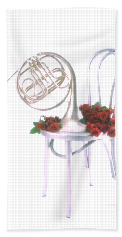 French Hand Towel featuring the photograph Silver French Horn On Silver Chair by Garry Gay