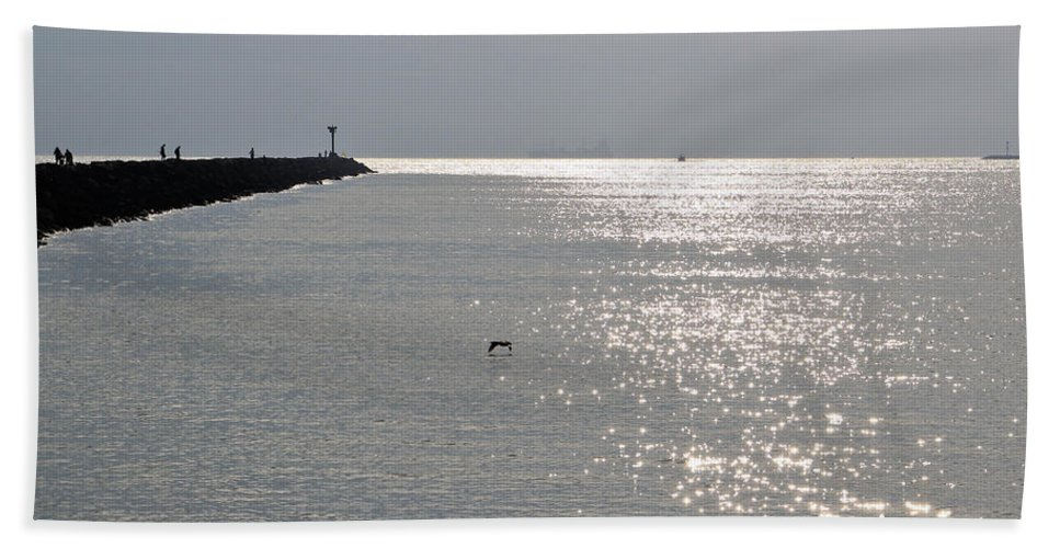 Long Beach Hand Towel featuring the photograph Silver by Heidi Smith