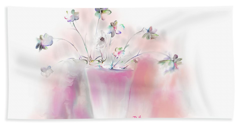 Flowers Bath Sheet featuring the painting Simple Spring Flowers by Claire Bull