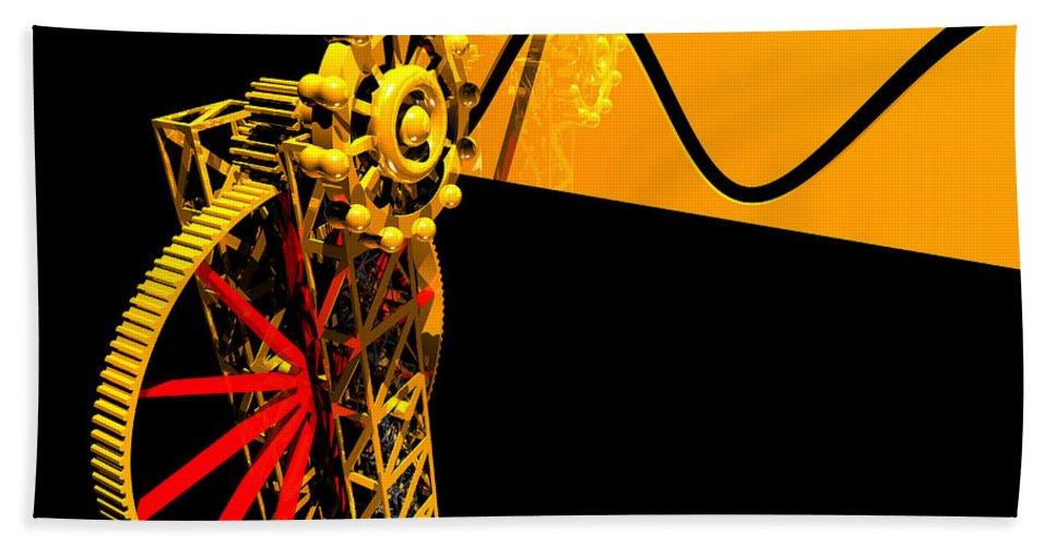 Brass Hand Towel featuring the digital art Sine Wave Machine Landscape 1 by Russell Kightley