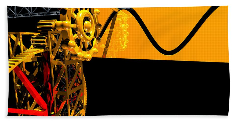 Brass Hand Towel featuring the digital art Sine Wave Machine Landscape 2 by Russell Kightley