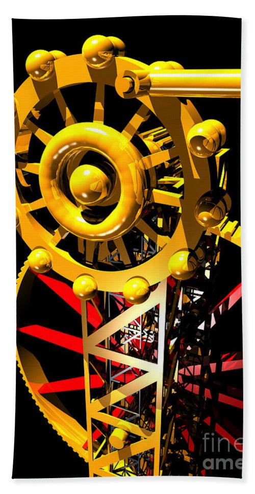 Brass Hand Towel featuring the digital art Sine Wave Machine Portrait 7 by Russell Kightley