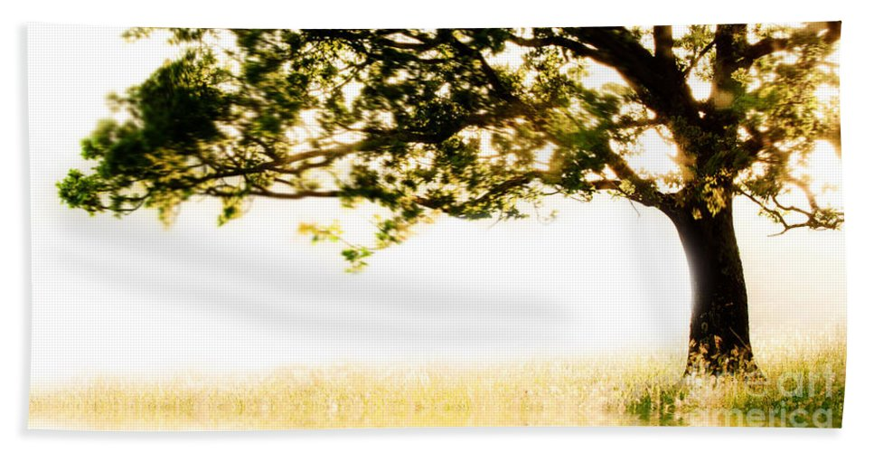 Tree Hand Towel featuring the photograph Single Tree In Motion by Simon Bratt Photography LRPS