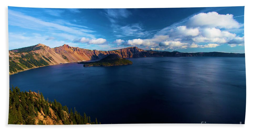 Crater Lake National Park Hand Towel featuring the photograph Sinott Crater Lake View by Adam Jewell
