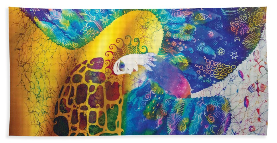 Bird Hand Towel featuring the painting Sirin The Bird by Kate Krivoshey