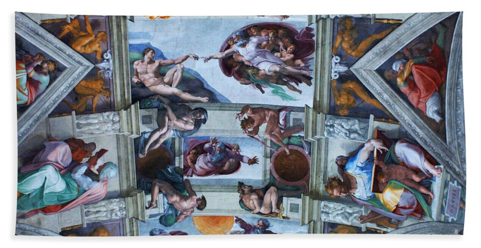 Sistine Chapel Bath Sheet featuring the photograph Sistine Chapel Ceiling by Bob Christopher