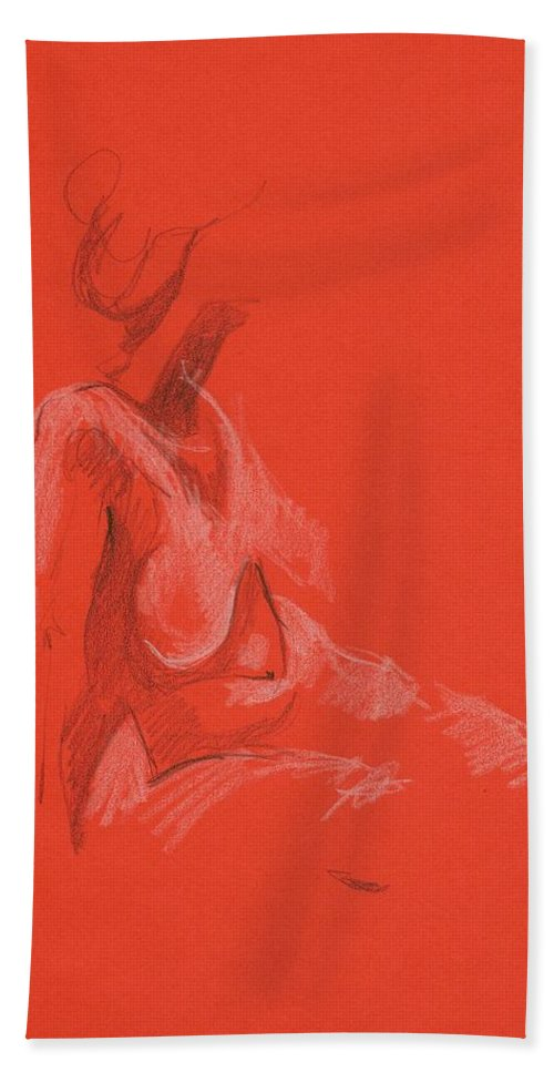 Gesture-drawing Bath Sheet featuring the drawing Sitting Model 1999 by Marica Ohlsson