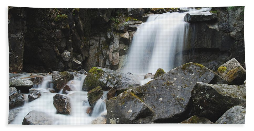 Landscape Hand Towel featuring the photograph Skagway Waterfall 8619 by Michael Peychich