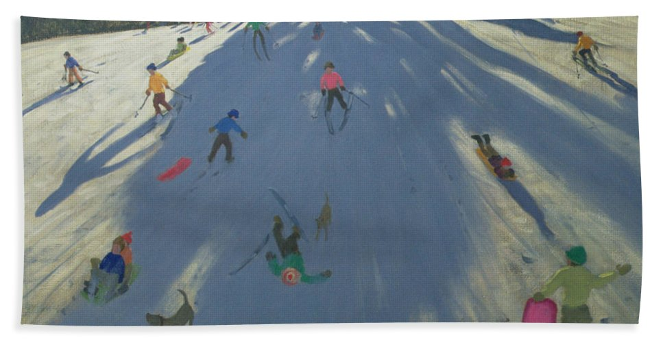 Hill Hand Towel featuring the painting Skiing by Andrew Macara