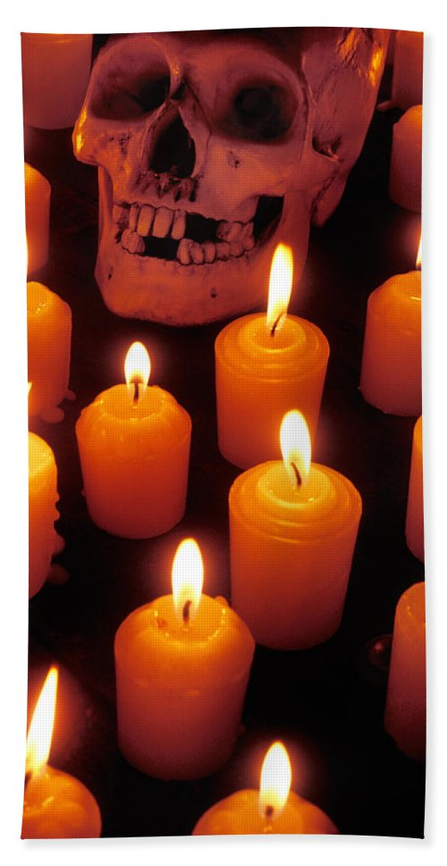 Skull Bath Sheet featuring the photograph Skull And Candles by Garry Gay