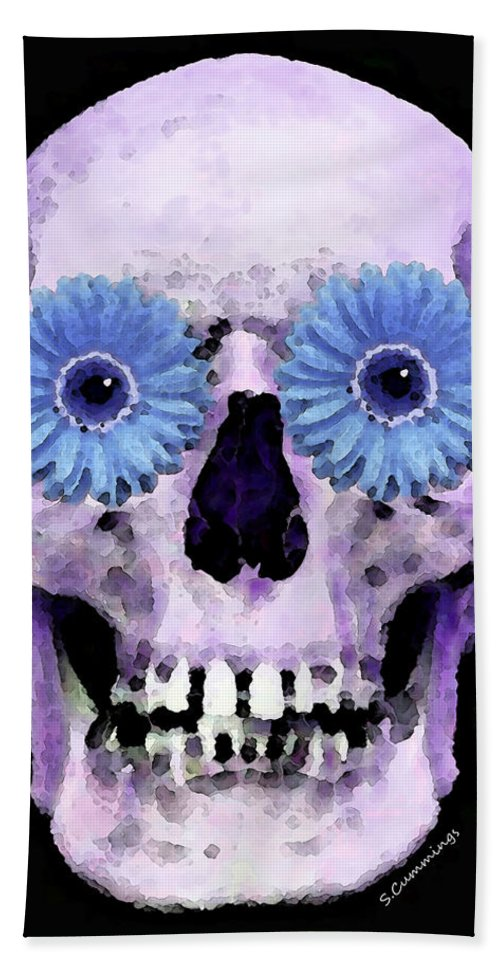 Skull Hand Towel featuring the painting Skull Art - Day Of The Dead 3 by Sharon Cummings