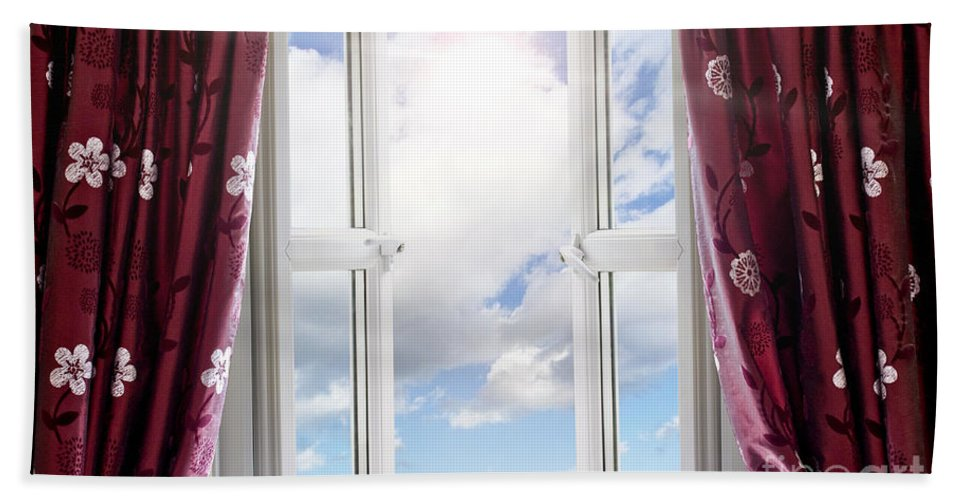 Window Hand Towel featuring the photograph Sky View Through Open Window by Simon Bratt Photography LRPS