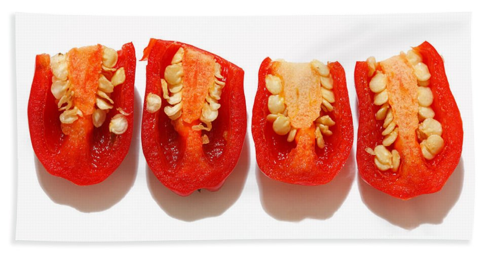 Peppers Bath Sheet featuring the photograph Sliced Red Peppers by Gaspar Avila
