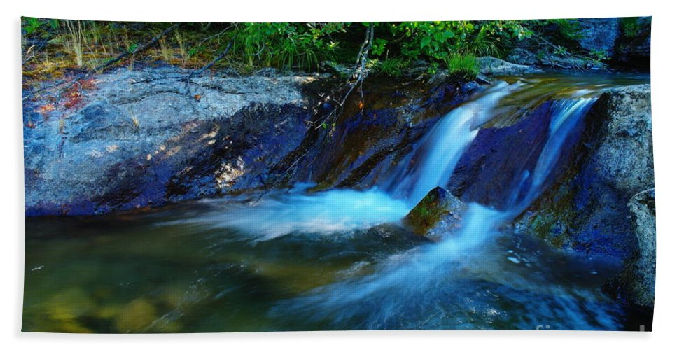 Water Hand Towel featuring the photograph Small Blue Water by Jeff Swan
