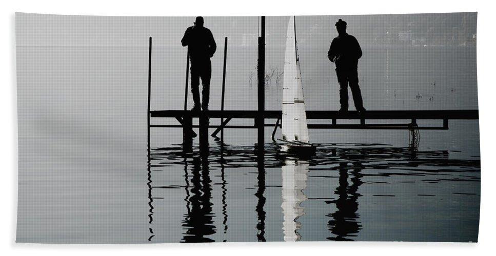 Men Bath Sheet featuring the photograph Small Sailing Boat by Mats Silvan