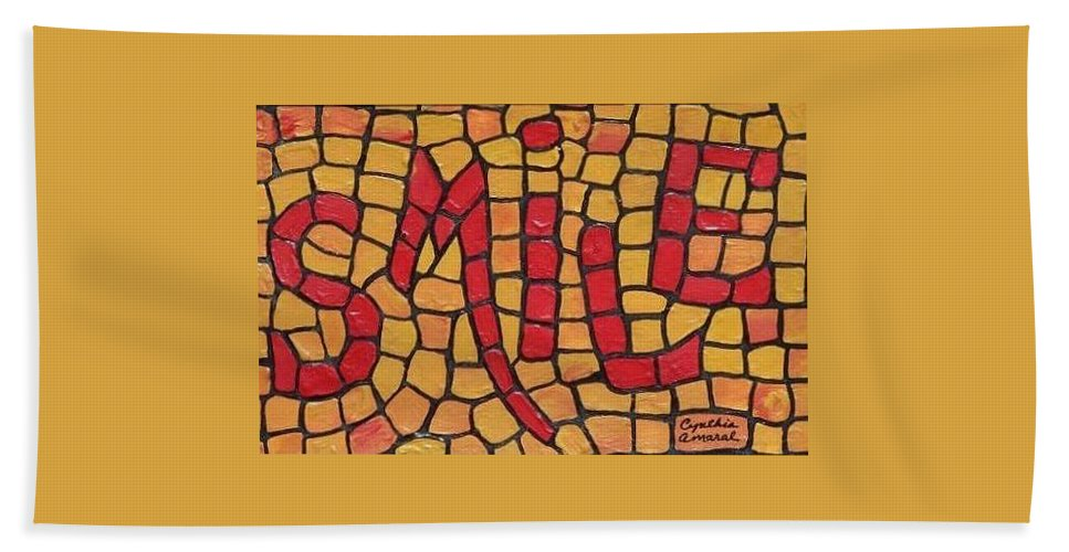 Smile Bath Sheet featuring the painting Smile by Cynthia Amaral