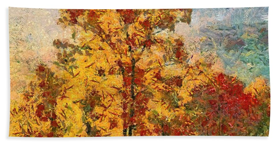 Fall Hand Towel featuring the painting Smoke Tree In The Karst by Dragica Micki Fortuna
