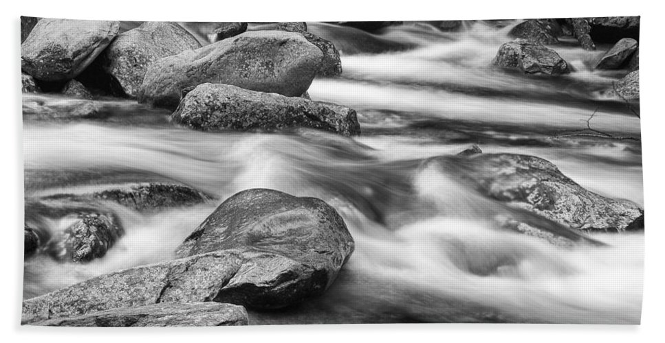 Art Bath Sheet featuring the photograph Smokey Mountain Stream Of Flowing Water Over Rocks by Randall Nyhof