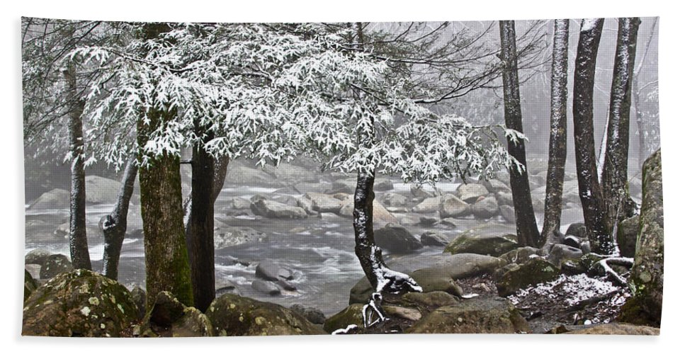 Landscape Bath Sheet featuring the photograph Smoky Mountain Stream by Tom and Pat Cory