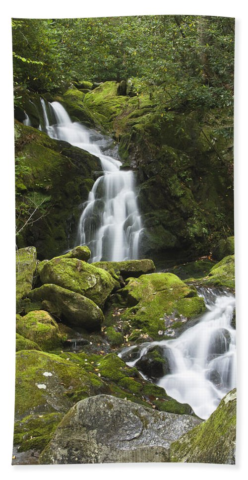 Mouse Creek Falls Hand Towel featuring the photograph Smoky Mountain Waterfall - Mouse Creek Falls by Bill Swindaman