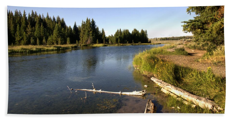 Snake River Schwabacher Landing Road Hand Towel featuring the photograph Snake River At Schwabacher Landing by Paul Cannon