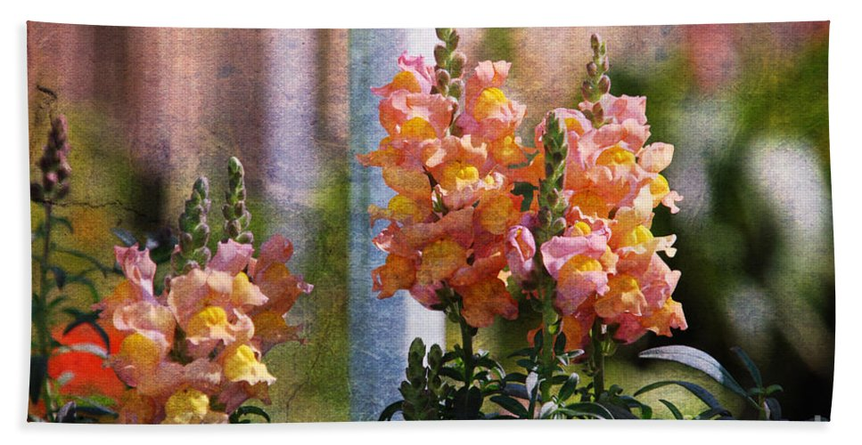 Snapdragons Bath Sheet featuring the photograph Snapdragons by Susanne Van Hulst