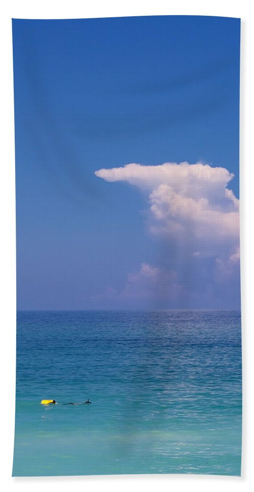 Paradise Hand Towel featuring the photograph Snorkeler In Paradise by Stephanie McDowell