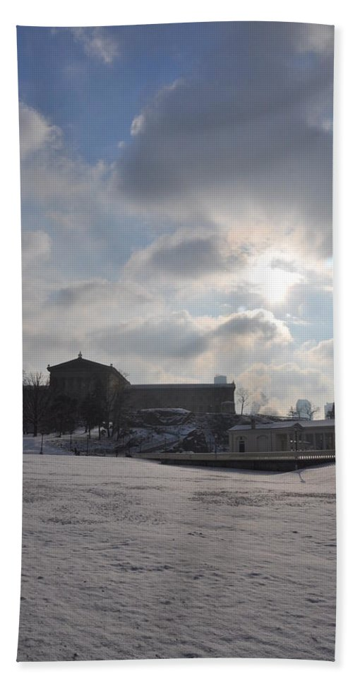 Snow Bath Sheet featuring the photograph Snow At The Art Museum - Philadelphia by Bill Cannon