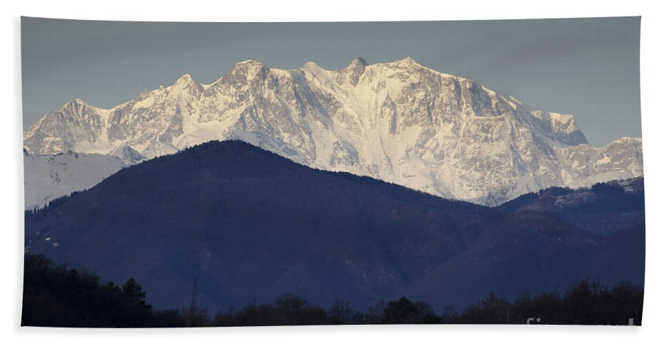 Mountain Hand Towel featuring the photograph Snow-capped Mountain Monte Rosa by Mats Silvan