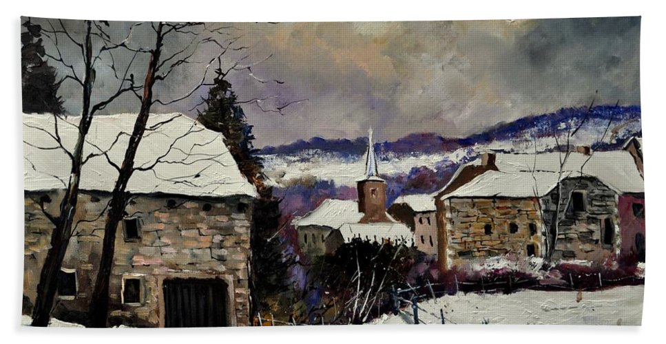 Landscape Bath Sheet featuring the painting Snow In Gendron by Pol Ledent