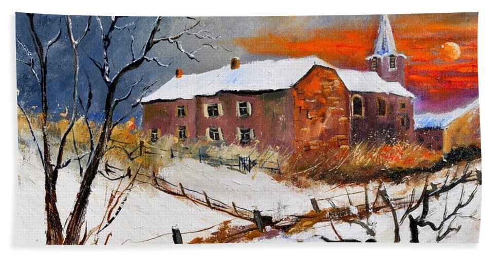 Landscape Bath Sheet featuring the painting Snow In Houyet by Pol Ledent