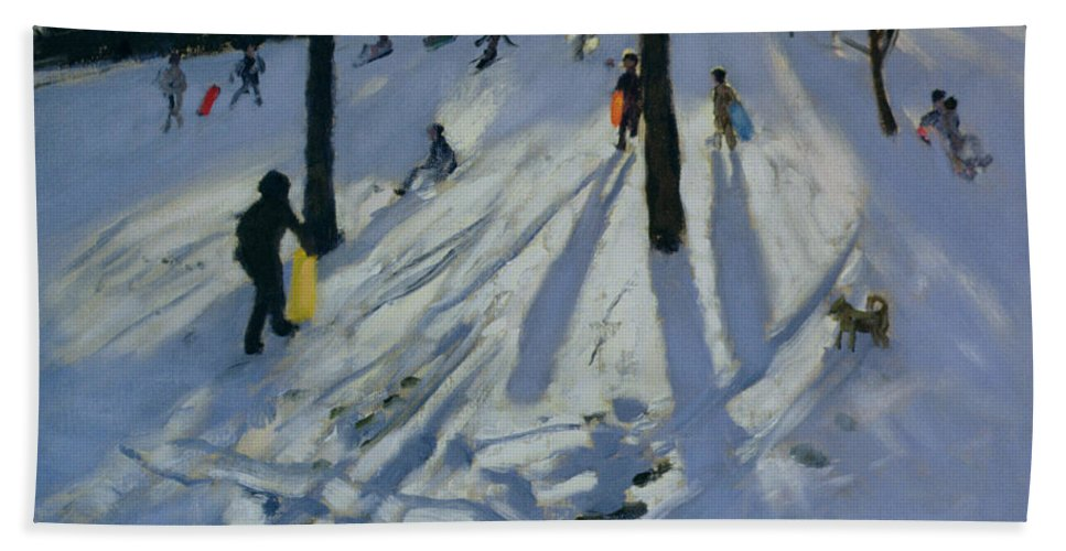 Winter Bath Sheet featuring the painting Snow Rykneld Park Derby by Andrew Macara