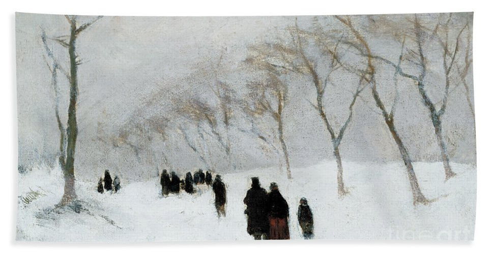 Winter Scene Bath Towel featuring the painting Snow Storm by Anton Mauve