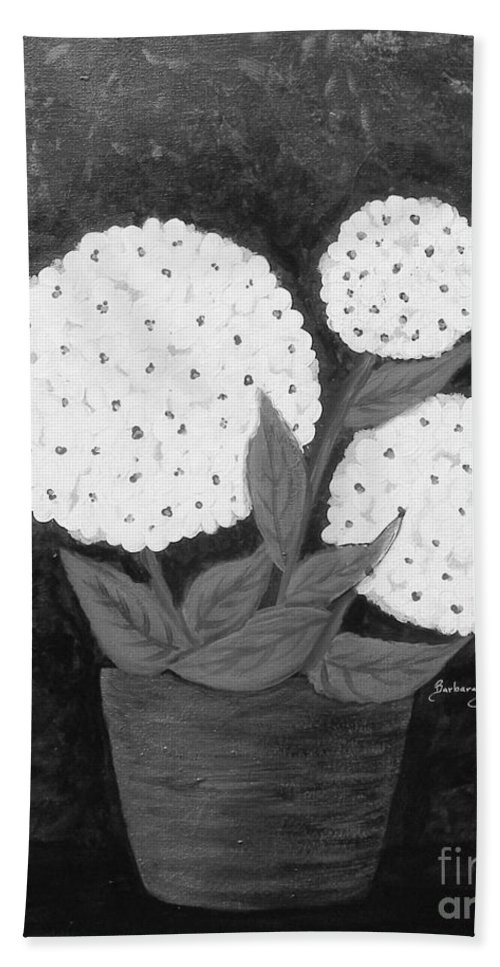 Snowball Plant Bath Sheet featuring the painting Snowball Plant B W by Barbara Griffin