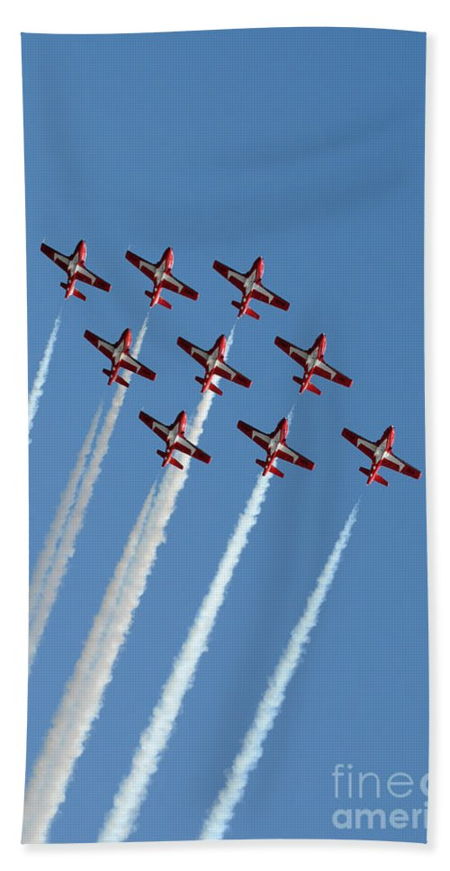 Snowbirds Hand Towel featuring the photograph Snowbirds In The Big Diamond Formation by Vivian Christopher