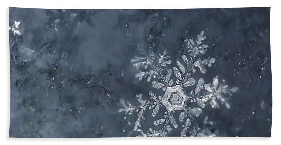 Snowflakes Bath Sheet featuring the photograph Snowflake In Blue by Beth Riser