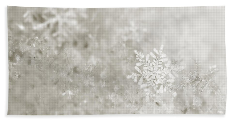 Christmas Bath Sheet featuring the photograph Snowflake In White by Beth Riser